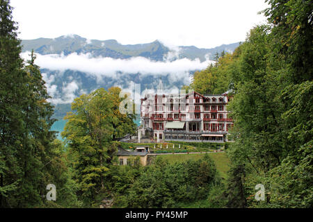 Grandhotel Giessbach Brienz Switzerland. 4 star romantic Grandhotel reached by private funicular from Lake Brienz Interlaken Stunning views.Waterfalls - Stock Photo