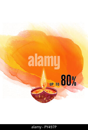 illustration on the theme of the traditional celebration of happy diwali and 80% offers. - Stock Photo
