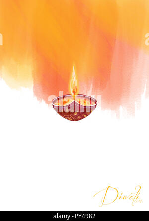 Elegant shiny diwali festival design, white background - Stock Photo