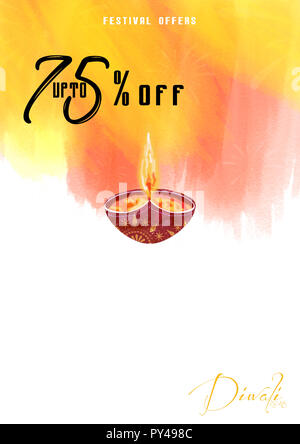 Diwali Festival Offer Poster Design Template with Creative Lamps and 75% offers - Stock Photo