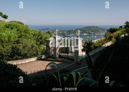 Gate fence and lights in Nice, France - Stock Photo