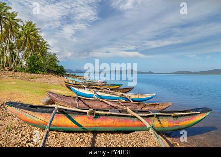 Catamaran fishing boats in Sri Lanka - Stock Photo