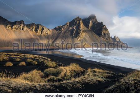 Vestrahorn mountains at stokksnes near Höfn in Iceland. Captured in autumn. - Stock Photo