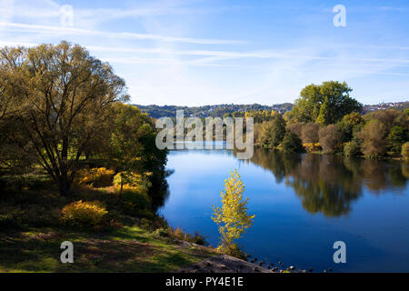 the river Ruhr in Wetter, Ruhr area, Germany.  die Ruhr in Wetter, Ruhrgebiet, Deutschland. - Stock Photo