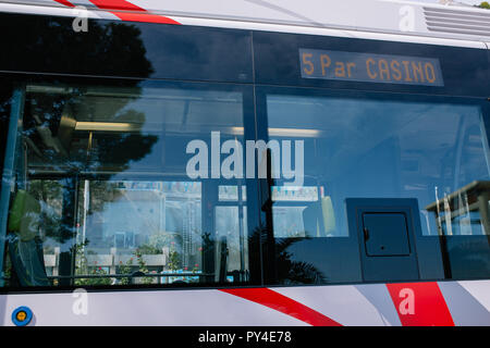 City Bus in Monaco public town transport - Stock Photo
