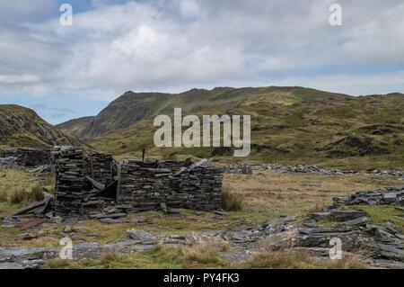 The abandoned Cwmorthin Slate Quarry at Blaenau Ffestiniog in Snowdonia, Wales - Stock Photo