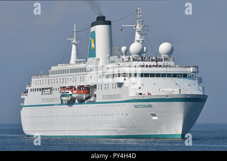 Cruiseship Deutschland inbound Kiel fjord - Stock Photo
