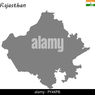 High Quality map of Rajasthan is a state of India - Stock Photo