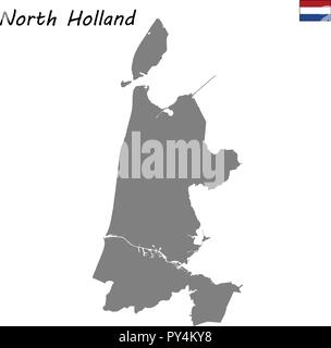 High Quality map province of Netherlands. North Holland - Stock Photo