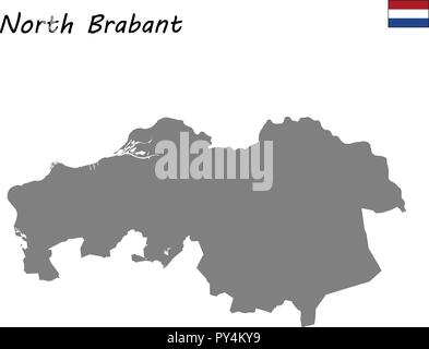 High Quality map province of Netherlands. North Brabant - Stock Photo