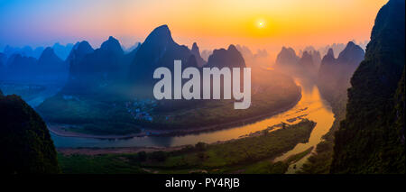 Panorama Sunrise Landscape of Guilin , Li River and Karst mountains called Xingping    mount, Guangxi Province, China - Stock Photo