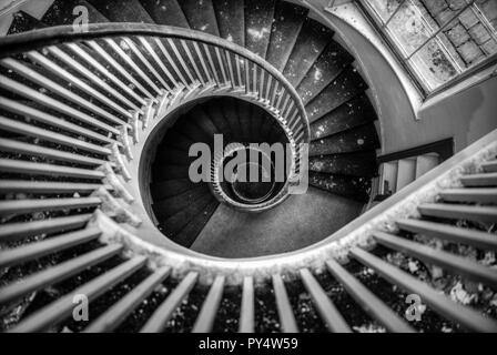 Spiral staircase, Spiral stairs, wooden spiral staircase, spiral stair case, Spiral stairs staircase, abstract, black and white, winding staircase, - Stock Photo
