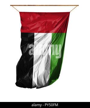 Flag of United Arab Emirates. Vertical flag.Isolated on a white background. - Stock Photo
