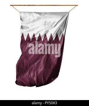 Flag of Qatar. Vertical flag.Isolated on a white background. - Stock Photo
