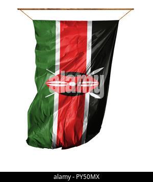 Flag of Kenya. Vertical flag.Isolated on a white background. - Stock Photo