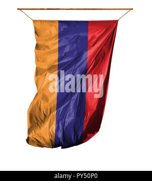 Flag of Armenia. Vertical flag.Isolated on a white background. - Stock Photo