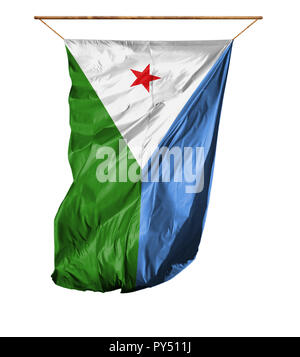 Flag of Djibouti. Vertical flag.Isolated on a white background. - Stock Photo