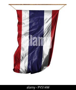 Flag of Thailand. Vertical flag.Isolated on a white background. - Stock Photo