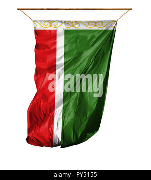 Flag of Chechen Republic. Vertical flag.Isolated on a white background. - Stock Photo
