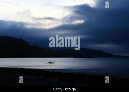 Dusk, Loch Ewe, Poolewe, Scottish Highlands, Scotland, UK - Stock Photo