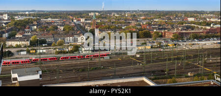 Dortmund, Germany, October 20., 2018: Panorama of Dortmund over the tracks of the station - Stock Photo