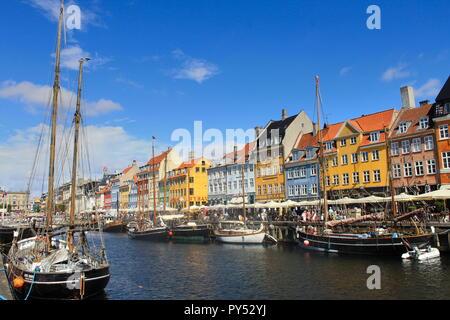 Nyhavn port in Copenhagen - Stock Photo