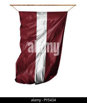 Flag of Latvia. Vertical flag.Isolated on a white background. - Stock Photo