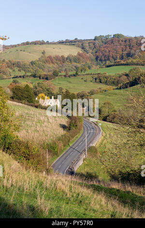 View along the Slad Valley, childhood home of the author Laurie Lee, in afternoon autumn sunshine, - Stock Photo