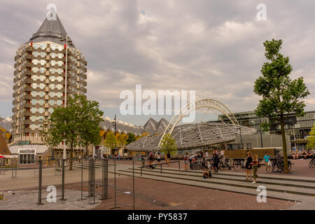 Rotterdam, Netherlands - 27 May:  Cube house and Blaak tower at Rotterdam on 27 May 2017. Rotterdam is a major port city in the Dutch province of Sout - Stock Photo