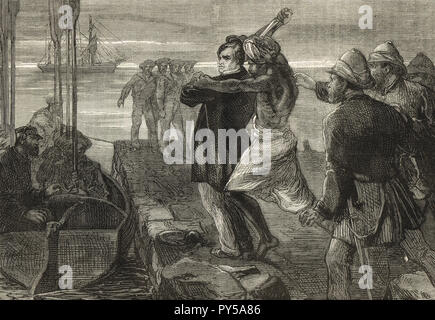The Assassination of the Earl of Mayo, Viceroy of India, while visiting the convict settlement at Port Blair in the Andaman Islands, on 8 February 1872.  Assassinated by Sher Ali Afridi an Afridi Pathan convict. - Stock Photo