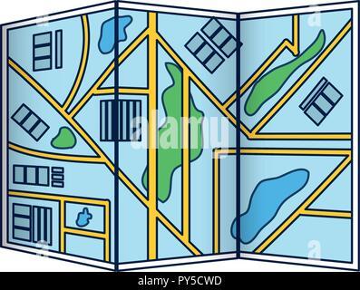 City map folded - Stock Photo