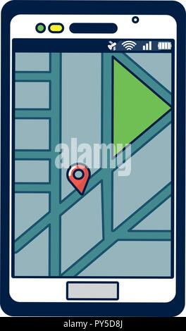 Smartphone with gps location - Stock Photo