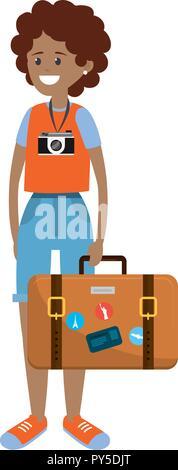 Backpacker tourist woman - Stock Photo
