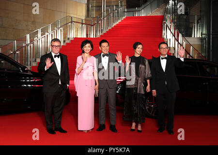Tokyo, Japan. 25th Oct, 2018. The International Competition Jury wave hands on the red carpet for the opening ceremony of the 31st Tokyo International Film Festival, Tokyo, Japan, Oct. 25, 2018. Credit: Du Xiaoyi/Xinhua/Alamy Live News - Stock Photo