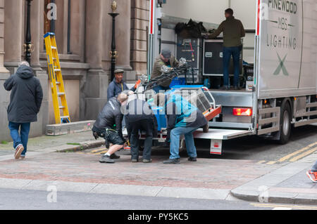 Glasgow, Scotland, UK. 25th October, 2018. On the streets of the City Centre filming of the blockbuster movie Hobbs & Shaw which is a spin-off of the car chase franchise Fast & Furious. Credit: Skully/Alamy Live News - Stock Photo
