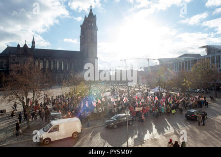 Magdeburg, Germany. 25th Oct, 2018. Participants of the demonstration protest against the planned amendment of the Child Support Act (Kifög). Several hundred parents and educators took part in the demonstration. The Kifög is currently being debated by the Landtag. The governing coalition of CDU, SPD and Greens had struggled for a long time to reach a compromise. One of the most important elements is that parents of several children will in future only pay childcare fees for the oldest child. Credit: Klaus-Dietmar Gabbert/dpa-Zentralbild/ZB/dpa/Alamy Live News - Stock Photo