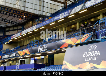 London, UK. 25th Oct 2018. A general view of the Europa League livery during the UEFA Europa League group stage match between Chelsea and FC BATE Borisov at Stamford Bridge, London, England on 25 October 2018. Photo by Carlton Myrie.  Editorial use only, license required for commercial use. No use in betting, games or a single club/league/player publications. Credit: UK Sports Pics Ltd/Alamy Live News - Stock Photo