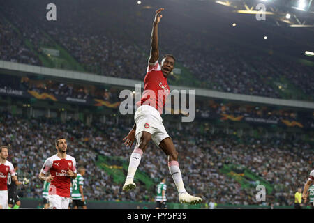 Lisbon, Portugal, Portugal. 25th Oct, 2018. Danny Welbeck of Arsenal FC seen celebrating with his team mates after scoring a goal during the Europa League Group E 2018/19 football match between Sporting CP vs Arsenal FC. Credit: David Martins/SOPA Images/ZUMA Wire/Alamy Live News - Stock Photo