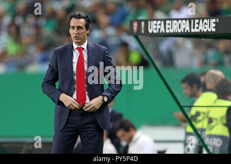 Lisbon, Portugal, Portugal. 25th Oct, 2018. Unai Emery of Arsenal FC seen in action during the Europa League Group E 2018/19 football match between Sporting CP vs Arsenal FC. Credit: David Martins/SOPA Images/ZUMA Wire/Alamy Live News - Stock Photo