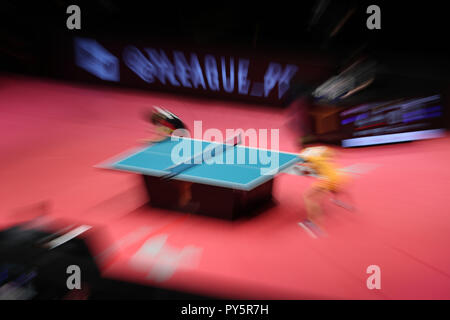 Tokyo, Japan. 25th Oct, 2018. General view Table Tennis : 2018-19 T League Women's match between Top Otome Pingpongs Nagoya 1-3 Nippon Life Red Elf at the Ryogoku Kokugikan in Tokyo, Japan . Credit: Jun Tsukida/AFLO SPORT/Alamy Live News - Stock Photo