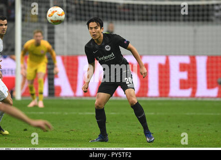 Makoto Hasebe of Frankfurt during the UEFA Europa League Group H match between Eintracht Frankfurt 2-0 Apollon Limassol at Commerzbank-Arena in Frankfurt am Main, Germany, October 25, 2018. Credit: Takamoto Tokuhara/AFLO/Alamy Live News - Stock Photo