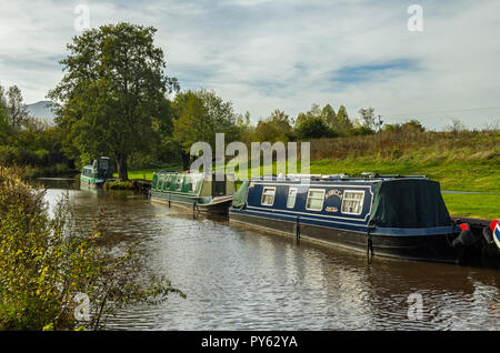 Narrowboats moored up at Pencelli on the Monmouthshire and Brecon Canal in the Brecon Beacons south Wales - Stock Photo