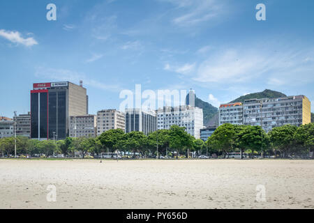 Botafogo skyline with Corcovado mountain and Christ on background - Rio de Janeiro, Brazil - Stock Photo