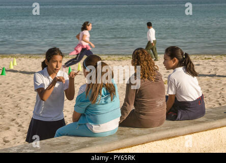 Girls at Malecon in La Paz, Baja California Sur, Mexico - Stock Photo