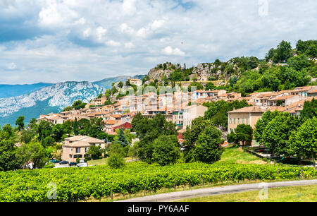 Aiguines village in Provence, France - Stock Photo