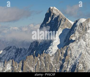 The view to Grandes-Jorasses from the Aiguille du Midi - Stock Photo