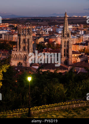 Time-blended shot at sunset/night of the Cathedral of Burgos - Stock Photo