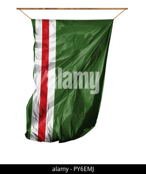 Flag of Chechen Republic of Ichkeria. Vertical flag.Isolated on a white background. - Stock Photo