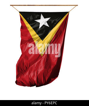 Flag of East Timor. Vertical flag.Isolated on a white background. - Stock Photo