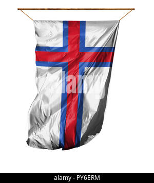 Flag of Faroe Islands. Vertical flag.Isolated on a white background. - Stock Photo